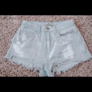 Hollister light wash denim high waisted shorts